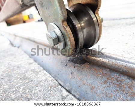 Sliding Door Casters And Concrete Floor Outside Factory Building For  Industrial Background