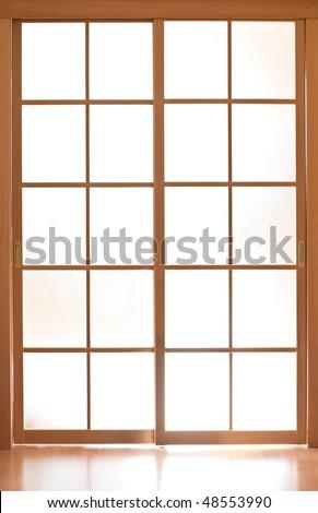 Sliding glass door in japan style - stock photo