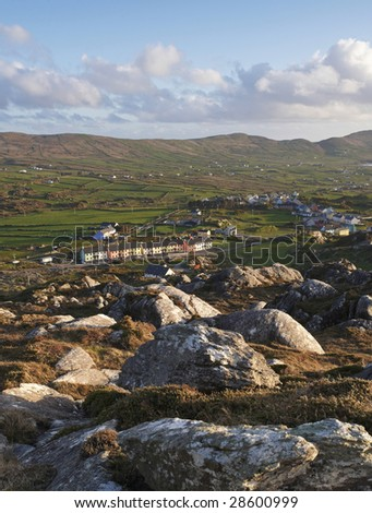 Slieve Miskish Mountains, Co.Cork, Ireland showing Allihies Village in distance