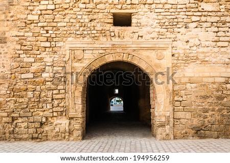 Slifa Kahla, Ancient Gate of the City of Mahdia, Tunisia - stock photo