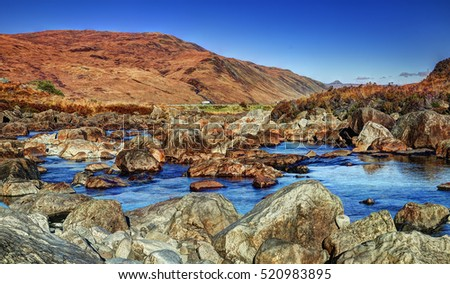 Sligachan Glen, Skye, Inner Hebrides, Highlands, Scotland. It is close to the Cuillin mountains and provides a good viewpoint for seeing the Black Cuillin mountains