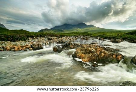 Sligachan River - Isle of Skye, Scotland - stock photo