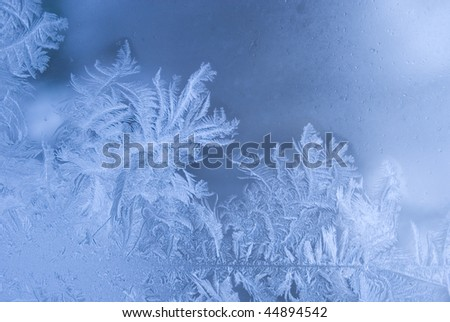 Slightly blurred beautiful frostwork on a window glass (as an abstract winter background) - stock photo