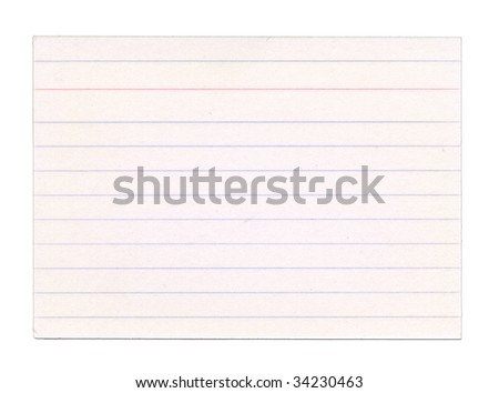 Slightly faded index card, isolated on white. Clipping path included.