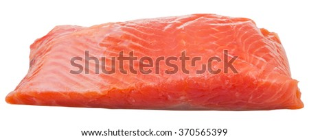 slightly salted trout red fish fillet piece isolated on white background