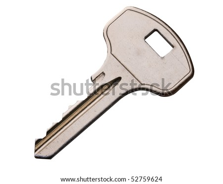 Slightly scratched key isolated on white background, with clipping path - stock photo