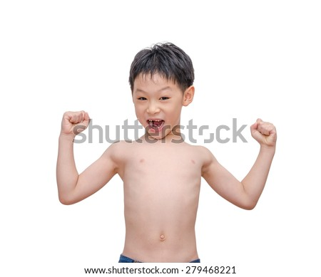 Slim Asian boy showing his arm muscle on white background