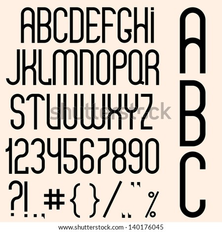 Slim black font, numbers and punctuation marks.  Raster version - stock photo