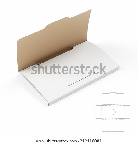 Slim Business Card Box with Die Cut Template - stock photo
