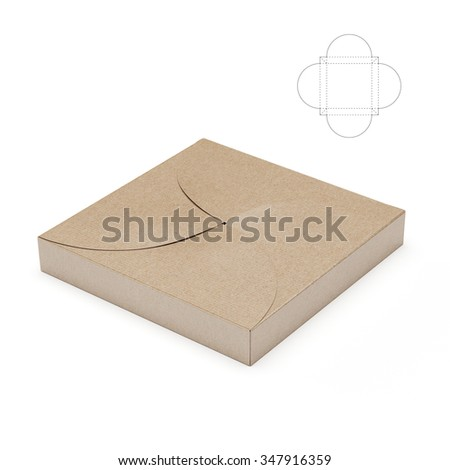 Slim Decorative Square Box with Die Cut Template - stock photo