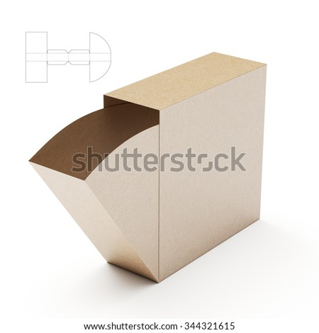 Slim Dispenser Box with Die Cut Template - stock photo