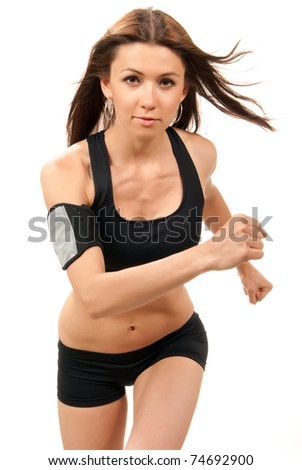 Slim fitness woman on diet  jogging, running in gym with muscular abs, arms, legs isolated on white background - stock photo