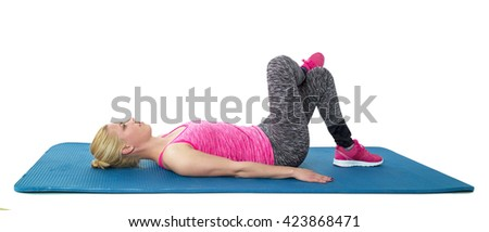 Slim fitness young woman Athlete girl doing plank corp exercise concept training workout. - stock photo