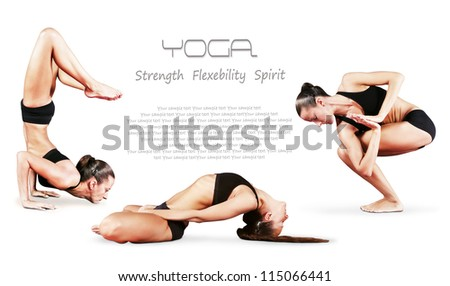Slim flexible girl in different yoga poses over white background