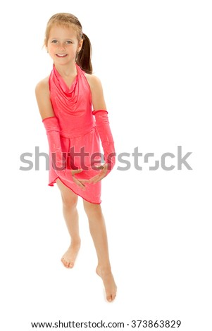 Slim girl gymnast dressed in sports costume for performances at competitions - Isolated on white background - stock photo
