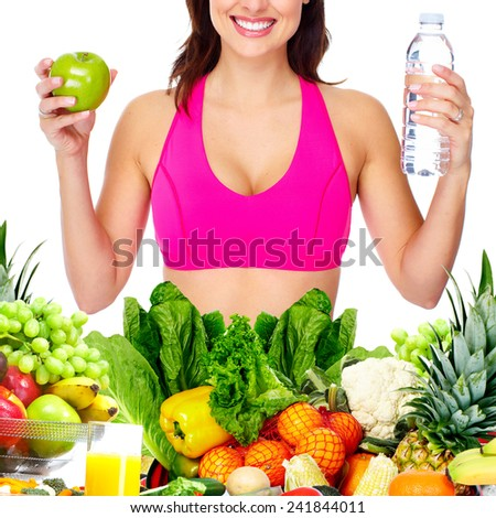 Slim healthy Woman losing weight. Health and diet - stock photo