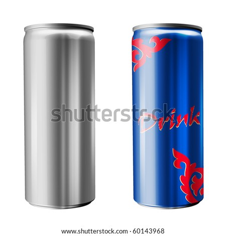Slim soda can (isolated on white background) - stock photo