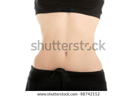 Slim woman belly, isolated on white background