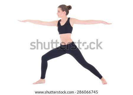 slim woman doing yoga or aerobics isolated on white background - stock photo