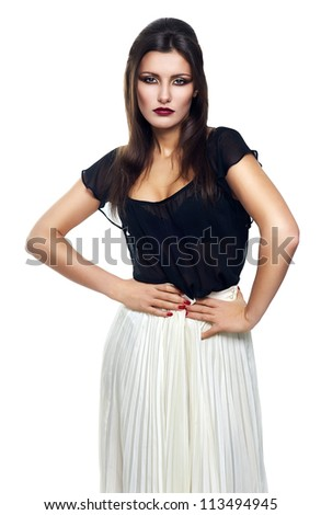 slim woman in skirt on white background - stock photo