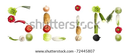 Slim word made of different type of vegetables