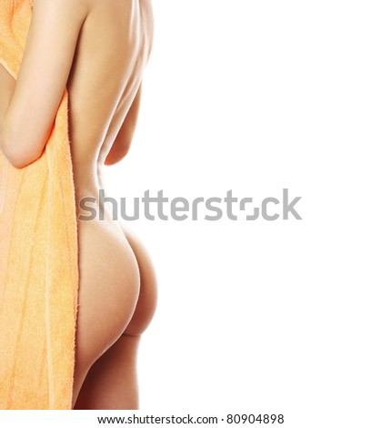 slim young woman after bath with towel - stock photo