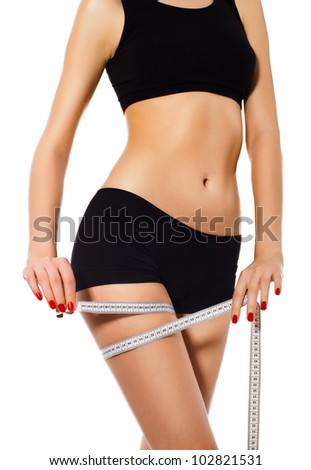 slimming woman in panties with measure on white background.close up