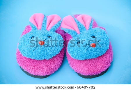 slipper that made as  pink/blue bunny - stock photo
