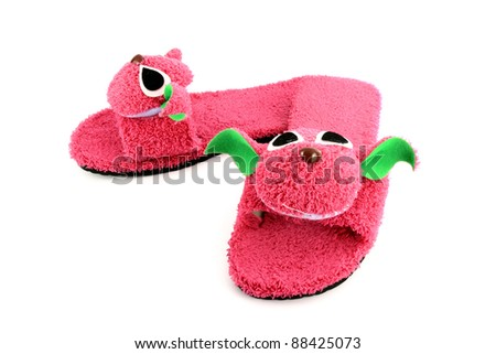 slipper that made as pink on white background - stock photo