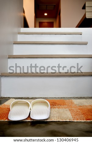 Slippers in the house - stock photo