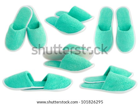 Slippers isolated on white background - stock photo
