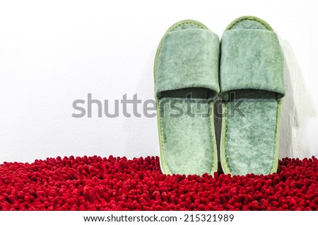 Slippers on red mat - stock photo
