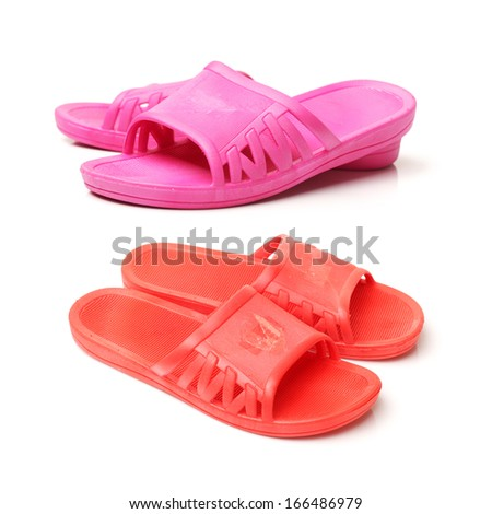 Slippers on white background