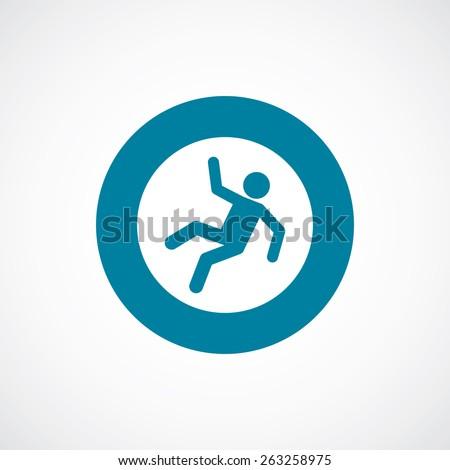 slippery floor icon bold blue circle border, white background  - stock photo