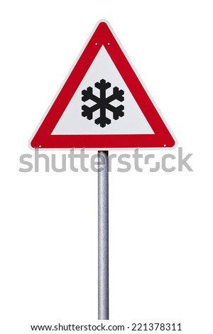 Slippery in winter Traffic sign with snowflake isolated with clipping path - stock photo