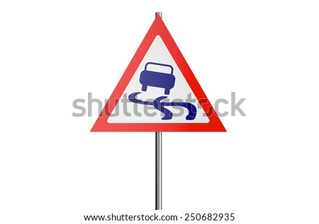 slippery road sign isolated on white background - stock photo
