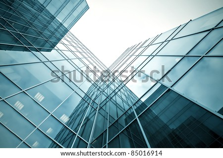 slippery texture of glass high-rise building - stock photo