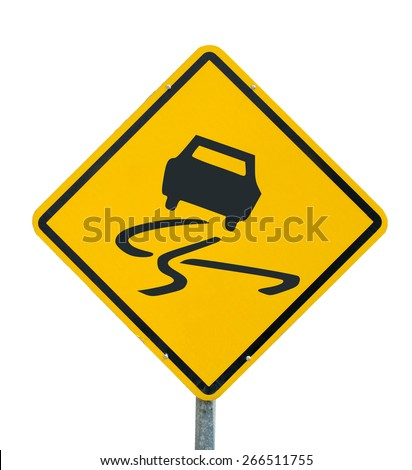 Slippery when wet icon yellow road sign on white background