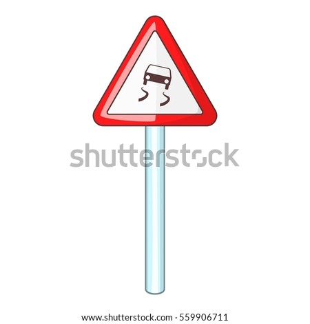 Slippery when wet road sign icon. Cartoon illustration of slippery when wet road sign  icon for web