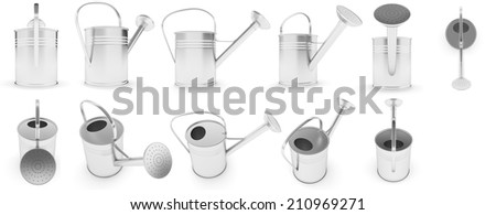 Sliver Metal Watering Can. Is Isolated On a White Background - stock photo