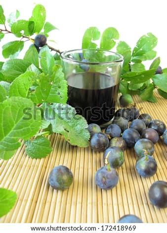 Sloe fruits liquor - stock photo