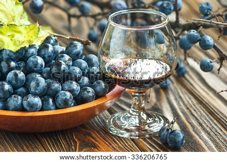 Sloe gin. Glass of blackthorn homemade light sweet reddish-brown liquid. Sloe-flavoured liqueur or wine decorated with fresh juicy ripe  prunus spinosa berries on wooden background. Selective focus - stock photo