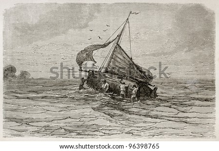 Sloop Santa Marta ship grounding in Limoeiro bay, Brazil. Created by Riou, published on Le Tour du Monde, Paris, 1867 - stock photo