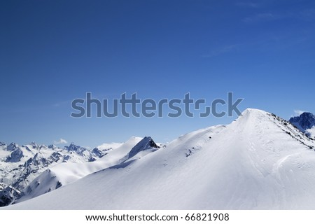 Slope for freeriding. Caucasus Mountains, Dombay. - stock photo