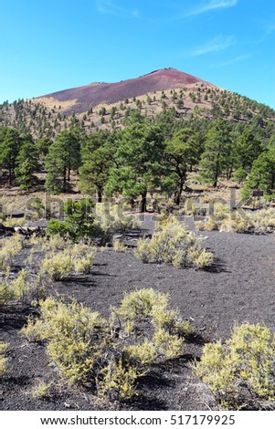 Slope of the cinder cone at Sunset Crater Volcano National Monument north of Flagstaff, Arizona vertical