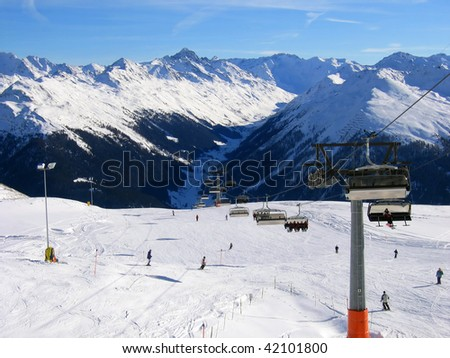 Slope on the skiing resort Davos. Switzerland - stock photo
