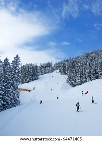 Slope on the skiing resort Elm. Switzerland - stock photo