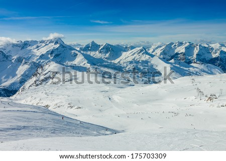 Slope on the skiing resort, European Alps - stock photo