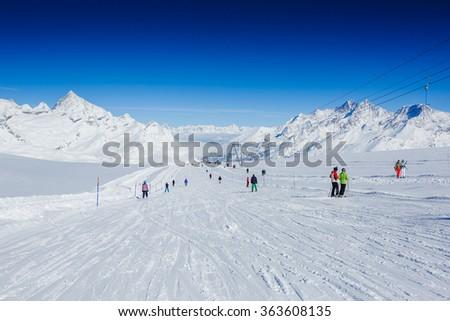 Slope on the skiing resort, European Alps  - stock photo