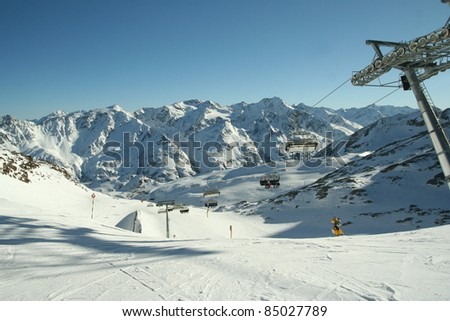 Slope view. mountain panorama in winter. Alps - stock photo